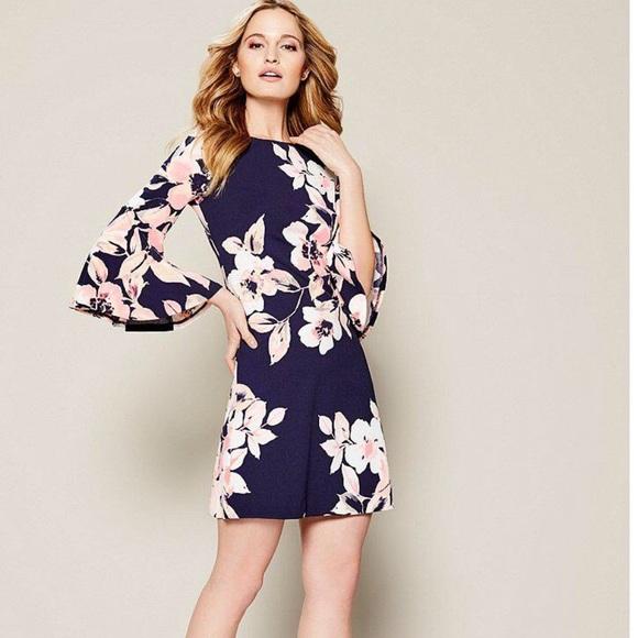 7a3de9a7 Eliza J Dresses | Womens Blue Floral Bell Sleeve Dress | Poshmark
